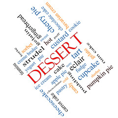 Dessert Word Cloud Concept Angled