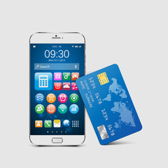 Modern mobile smartphone with credit card.vector
