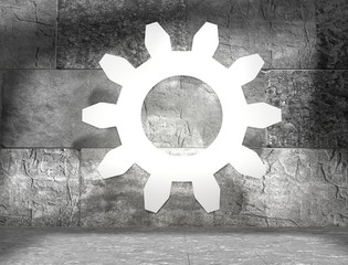 3d outline gear in concrete room