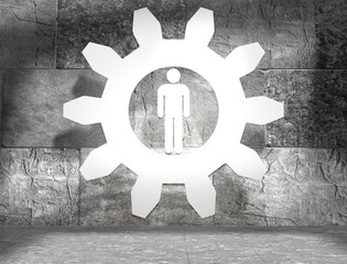 human icon in 3d outline gear in concrete room
