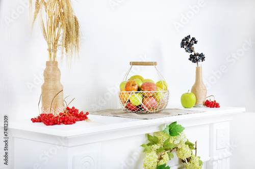 Home interior decoration on white table