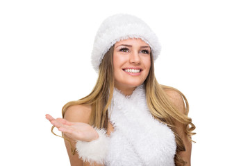 Cute winter woman with fuzzy hat and scarf. No retouch