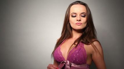 Seductive Woman in Purple Nighties