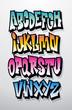 Graffiti cartoon comic doodle font alphabet. Vector - 74113182