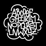 Hand written lettering graffiti font alphabet. Vector