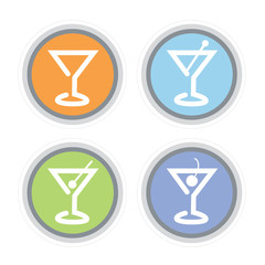 Colorful Martini Glass Icons