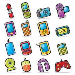 Colorful Handheld Electronics Icons