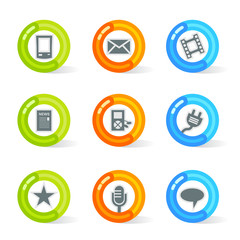Media Icons Stylish colorful gel Icons with media symbols