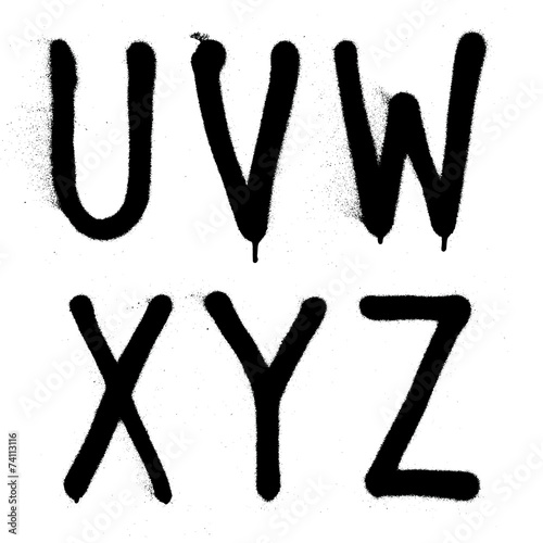 Hand written graffiti font type alphabet. Vector (part 4) - 74113116