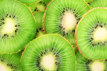 Juicy sliced kiwi close-up background