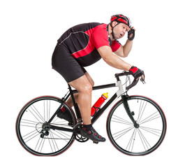 obese cyclist with difficulty riding a bicycle