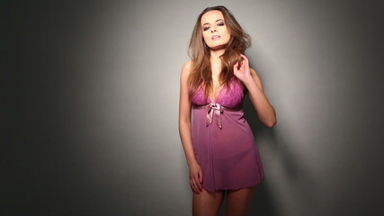 Seductive Woman in Purple Nighties