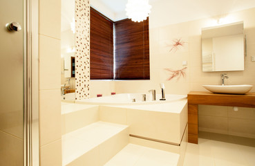 Interior of bright bathroom