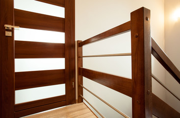 Wooden handrail at home