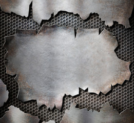 grunge torn metal plate as steam punk background