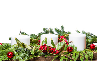 Christmas centerpiece with white candles