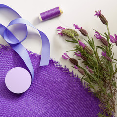 Deconstructed hat making materials lavender