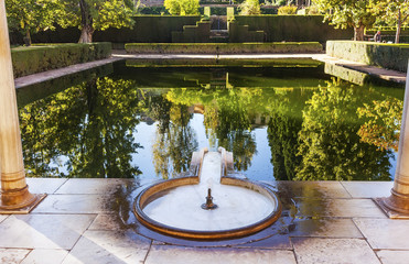 Alhambra Courtyard El Partal Fountain Pool Granada Andalusia