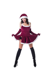 Sexy girl in Santa Claus role-playing costume