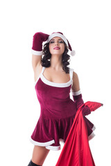 Charming woman posing as Santa Claus