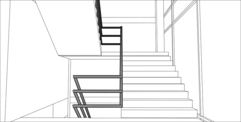 sketch design of interior stair hall,vector