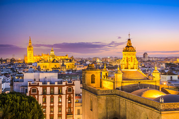 Seville, Spain City Skyline at Dusk