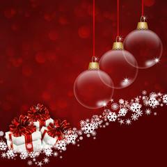 рождественский красный фон с подарками и шарами