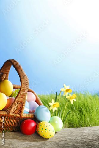 Easter basket on meadow - 74116598