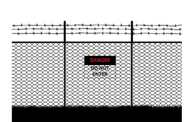 barb wire, with do not enter sign