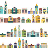 seamless pattern with cartoon buildings