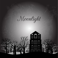 Midnight landscape with old house and trees