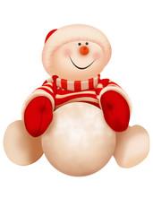 рождественский снеговик в красной одежде с снежным комом