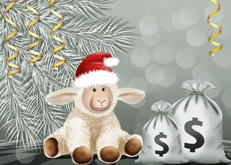 новогодняя овечка с мешками денег