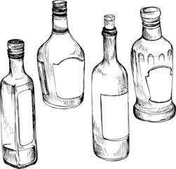 set of hand drawn glass bottles