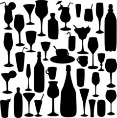 set of wineglass silhouettes