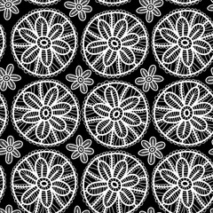 Lace seamless pattern flowers leaves black white background.