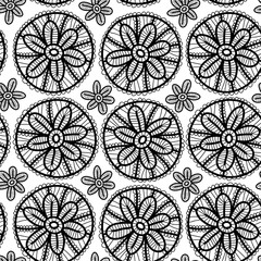Lace seamless pattern black flowers on white background