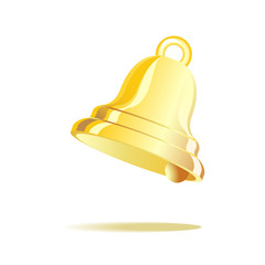 Gold vintage l bell isolated on white