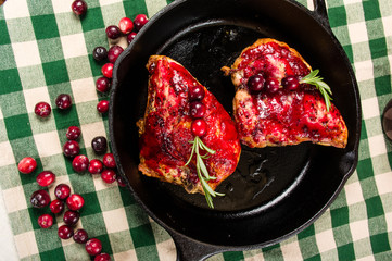 Overhead of chicken breasts in skillet