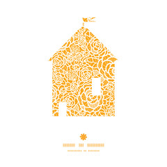 Vector golden lace roses house silhouette pattern frame