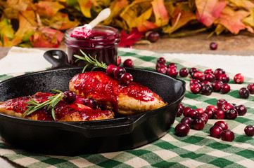 Cranberry glazed chicken with berries