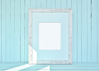 White canvas on wooden plank blue background