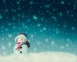 canvas print picture - snowman