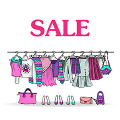 Vector sketch with sale of women's clothing and accessories