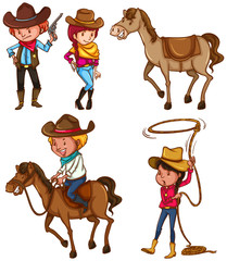 Male and female cowboys