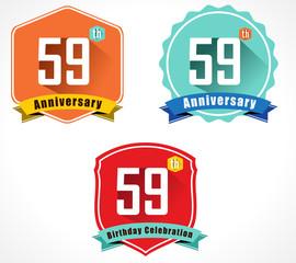 59 year birthday celebration flat color vintage label badge