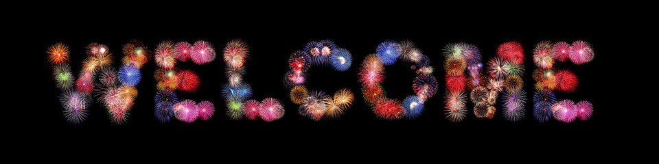 Welcome word text colorful fireworks