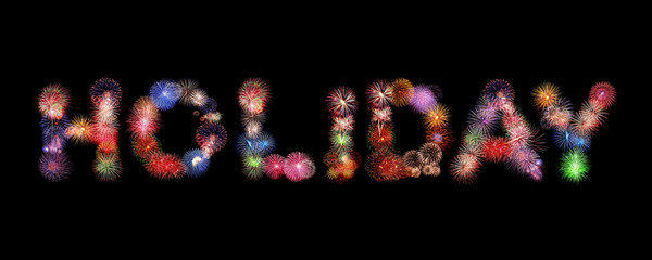 Holiday word text colorful fireworks