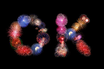 OK word text colorful fireworks