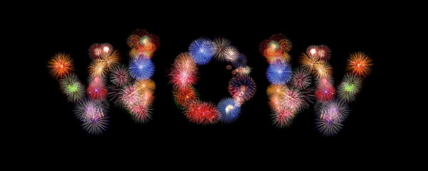wow word text colorful fireworks